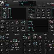 Kickboy 2 - Bantana Audio | VST Kick Instrument synth with 2 oscillators with noise and colour and 32 waveforms, also 2 oscillators with wavedraw. 4 kick envelopes and 4 multi envelopes and octaves for each kick, 2 filter envelopes also 2 amp envelopes and it got 2 filters with env control, and also there is an porta, very handy for fast sounds, 64 Presets.
